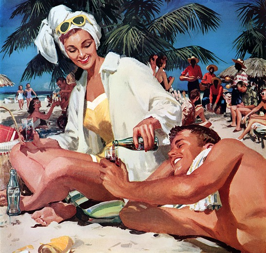 vintage coke ad 1950s illustration people on the beach in Cuba