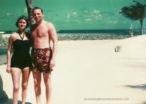 vintage photo couple on Caribbean beach