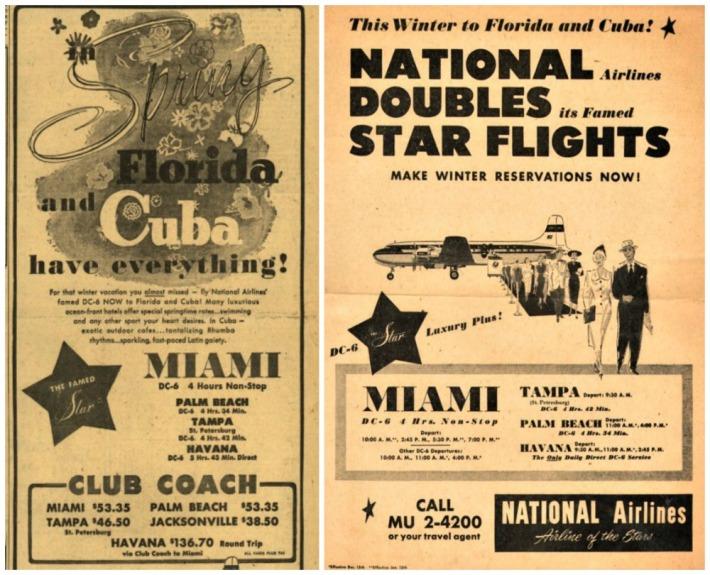 vintage airline Travel ads cuba florida