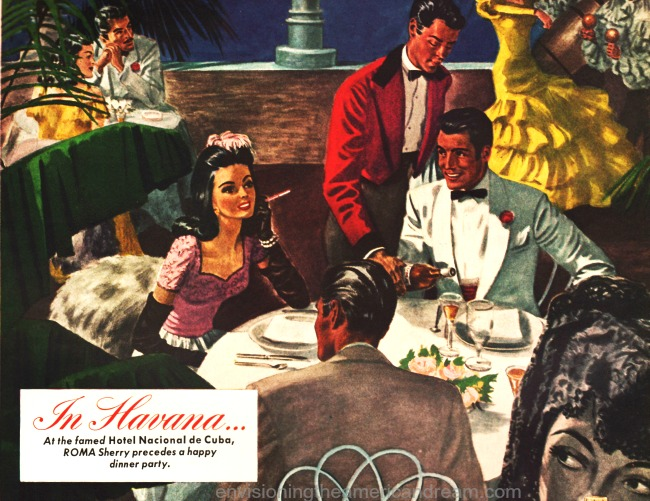 vintage illustration ad featuring diners at Hotel Nacional Cuba