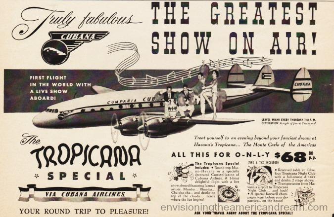 vintage ad tropicana Special flight 1957