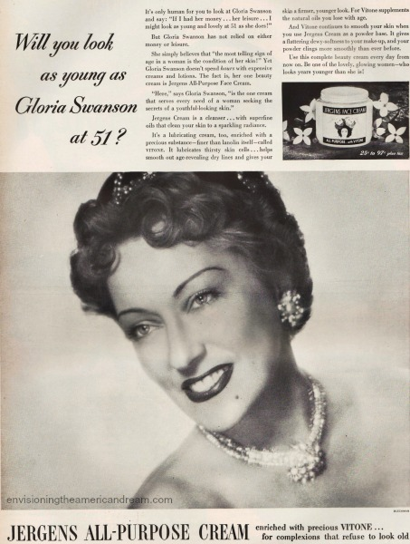 vintage ad for face cream Gloria Swanson