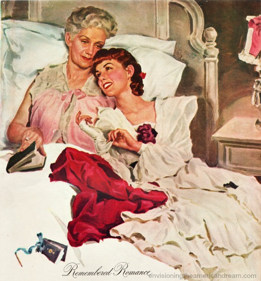 Vintage illustration older woman and younger woman