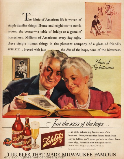 Vintage illustration ad grandparents reminiscing