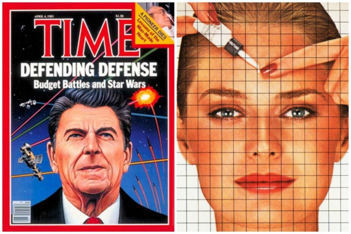 Aging defense collage Ronald reagan cover of Time and picture of woman and beauty products
