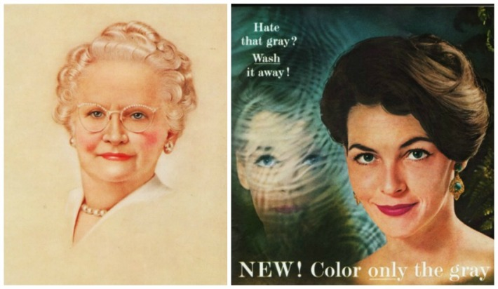 Vintage hair care ads gray hair