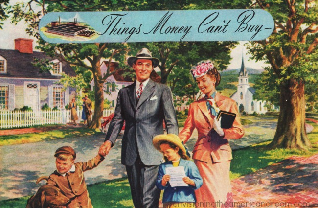 Vintage illustration American family 1940s