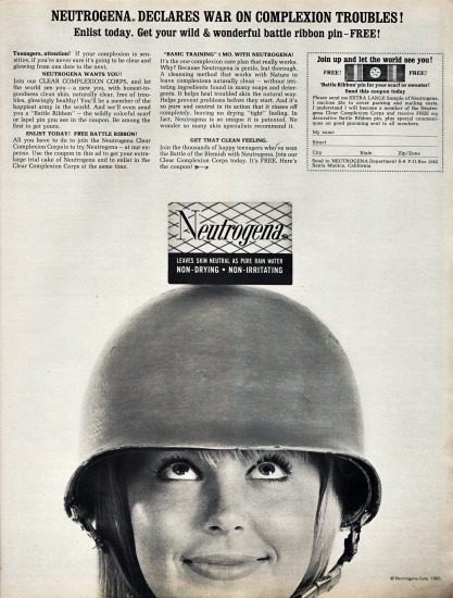 Vintage ad Neutrogena teen girl in combat hat