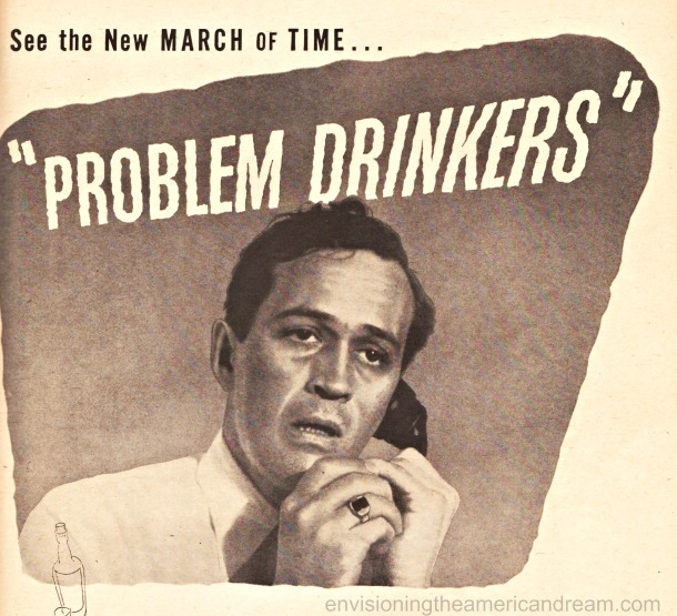 Vintage ad March of Time Problem Drinkers  man on phone
