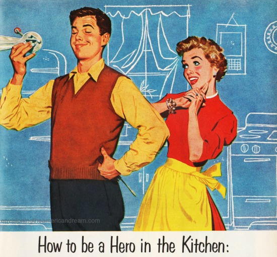 Vintage sexist illustration 1950s hero husband