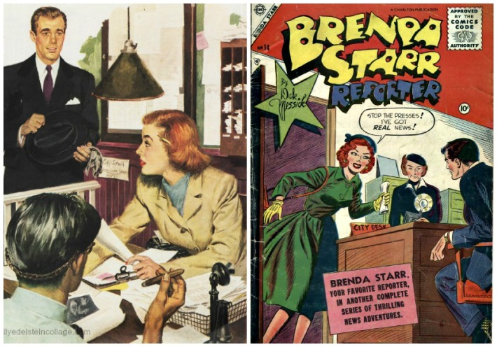 vintage illustration newspaperwoman and Brenda Starr