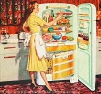 vintage illustration Homemaker in Kitchen 1950s