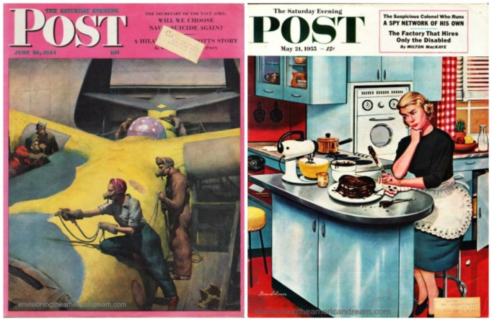 collage cover Saturday Evening Post WWII Rosie Riveter contrasted with 1950s Housewife Cover Girl