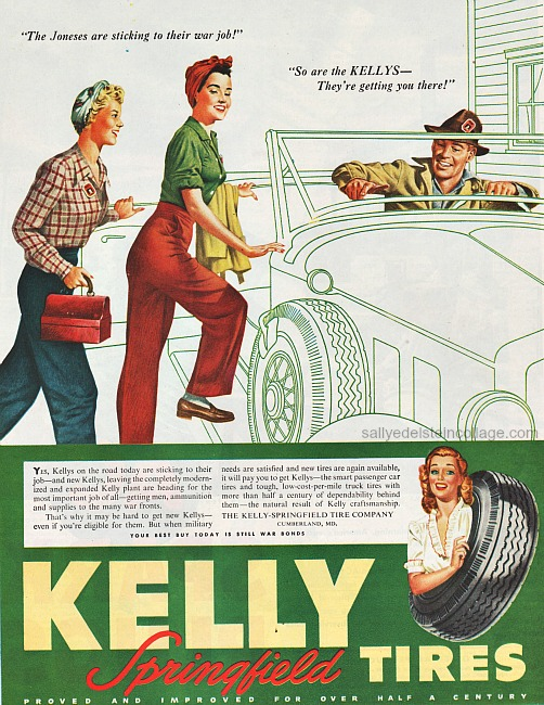 Vintage illustration Rosie the Riveter goes to work in a car