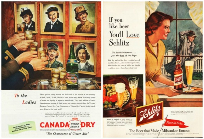 Vintage ads WWII Wacs and 1950s housewife