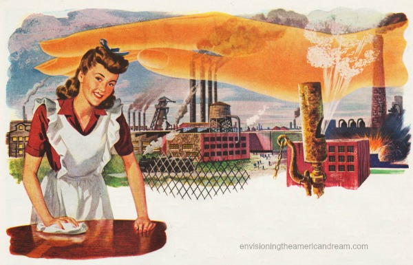 vintage illustration housewife and industry factories