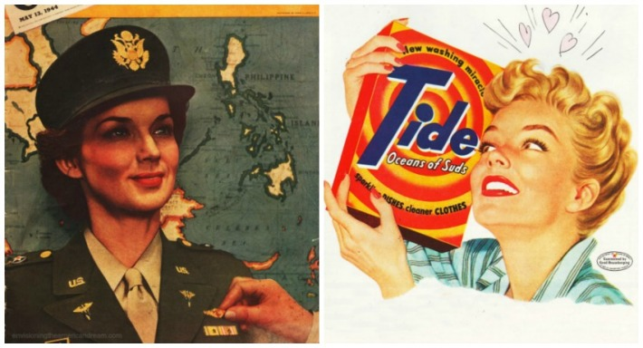 collage vintage WWII Women Wacs and 1950s  Housewife
