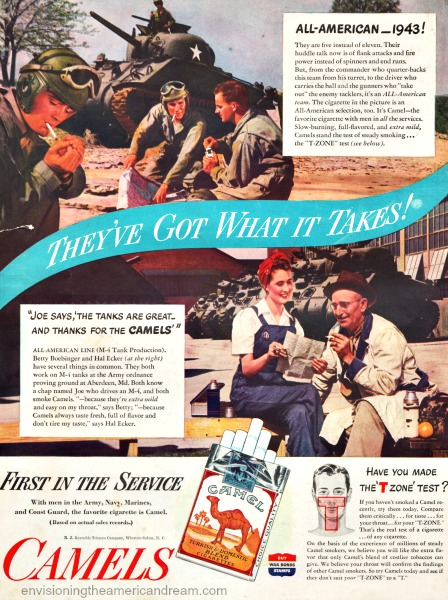 Vintage WWII ad Camels cigarettes war workers