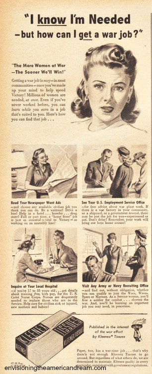 WWII Women war work Kleenex ad