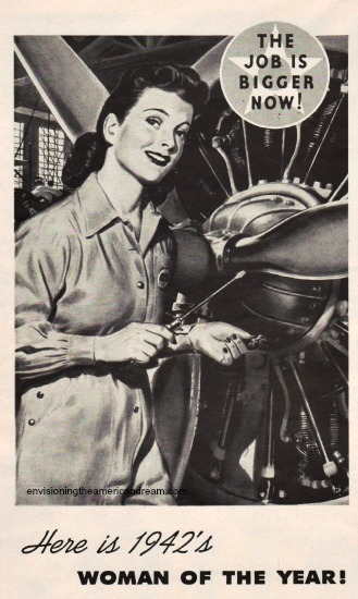 Vintage illustration Rosie the Riveter WWII