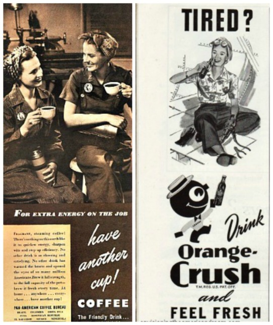 Vintage WWII ads coffee and Orange Crush picture women war workers