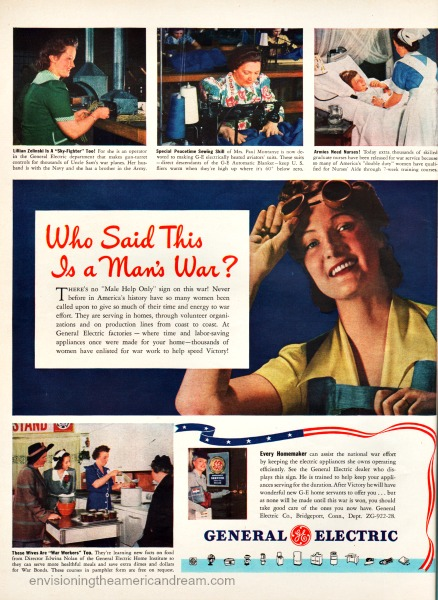 Vintage ad WWII Women War Work GE