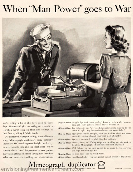 Vintage mimeoggraph Machine ad 1942