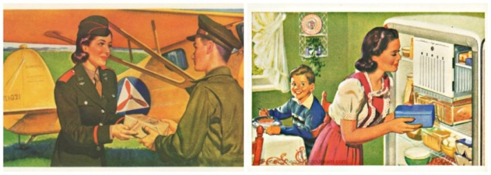 Vintage illustration s WWII Women Work  and housework