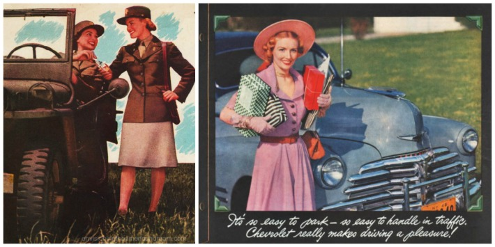 WWII Women work postwar driving