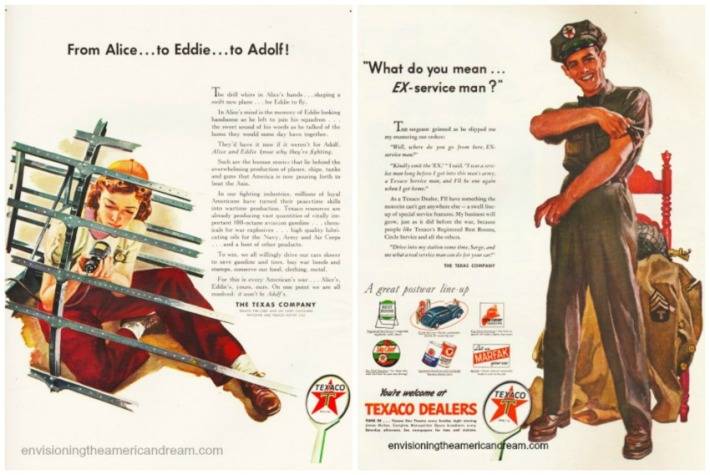 collage vintage ads Texaco WWII Work Changes