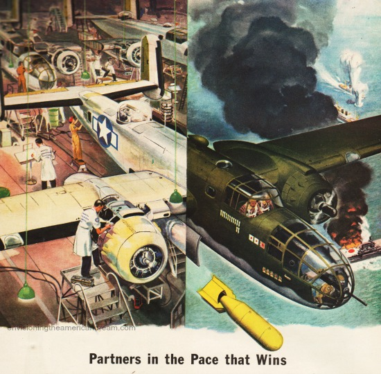 vintage illustration WWII bomber and airline factory