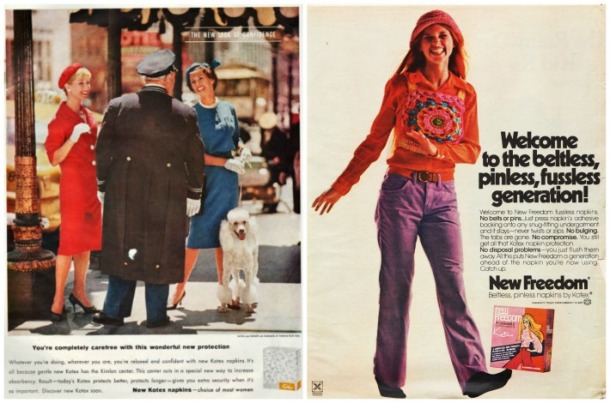 Vintage Kotex ads 1960, 1970