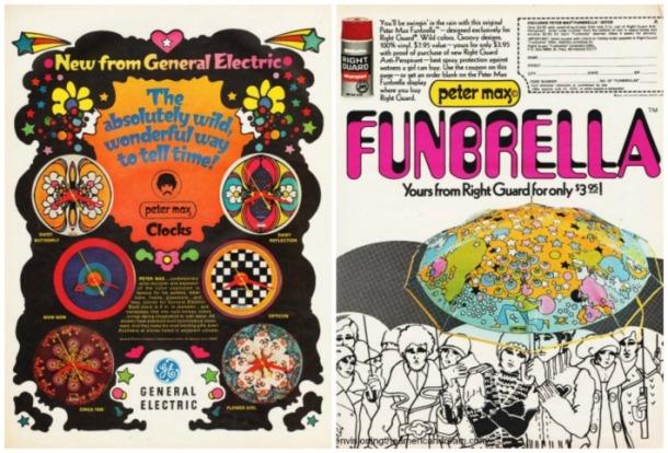 1970 Peter max ads Clocks Funbrella