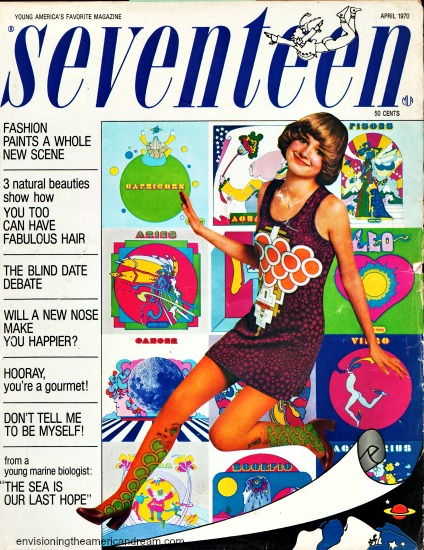 cover Seventeen Magazine April 1970 featuring Peter Max designs
