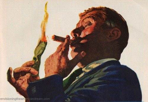 Vintage illustration capitalist burning money