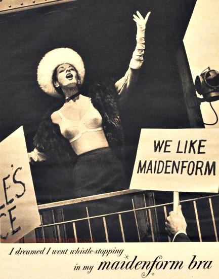 vintage Maidenform ad woma in bra campaigning