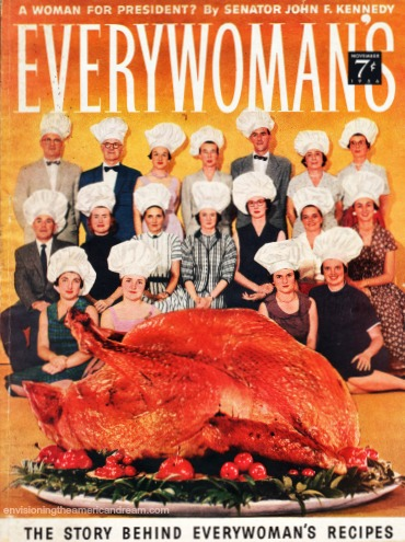 Vintage magazine cover Everywomans women in chefs hats and turkey