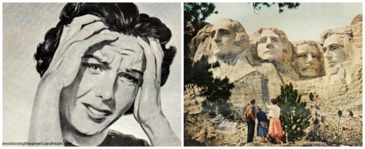 collage vintage Woman and Mt Rushmore