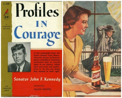 collage Book cover Profiles in Courage and picture of midcentury housewife
