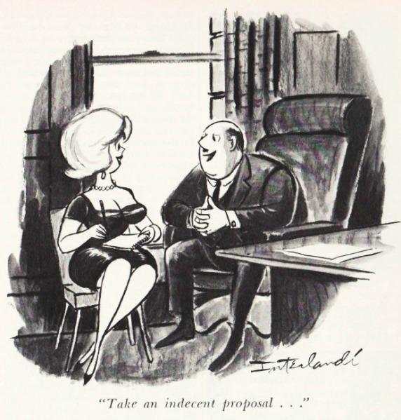 vintage Playboy cartoon sexist office