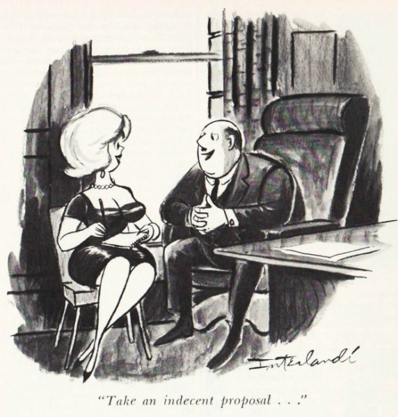 vintage Playboy cartoon sexist office