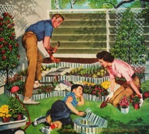 vintage illustration 1950s family gardening