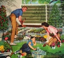 vintage illustration 1950s family gardening