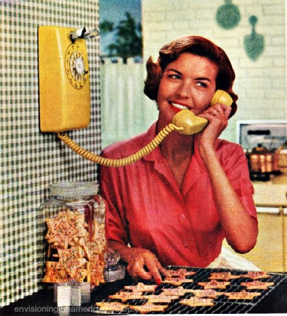Vintage housewife on telephone