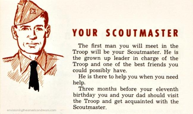 Boy Scout Scoutmaster  vintage illustration