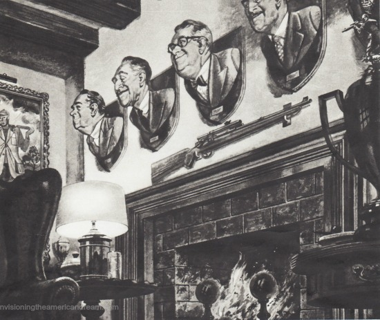 vintage illustration mens heads mounted on walls over fireplace with guns