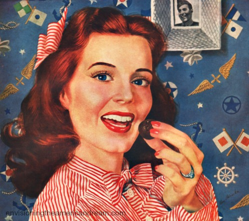 illustration girl eating chocolate Vintage Ad Whitmans Chocolates 1943