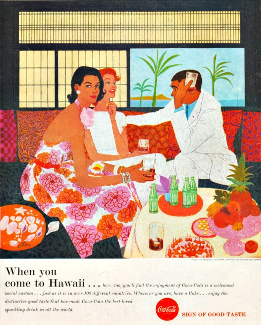 Vintage Coke ad Hawaii illustration Jack Potter