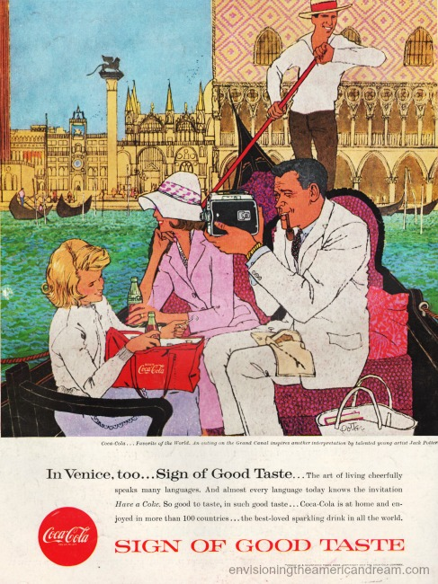 "Vintage Coke ad 1957 ""Venice"" Illustration by Jack Potter"