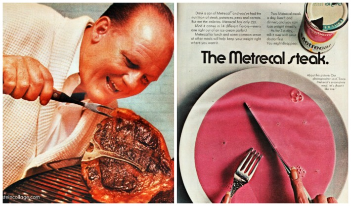 collage vintage Diet Metrecal Steak ad and man and steak
